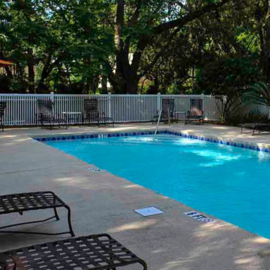 Rectangular pool surrounded by lounge chairs, a white fence and trees.